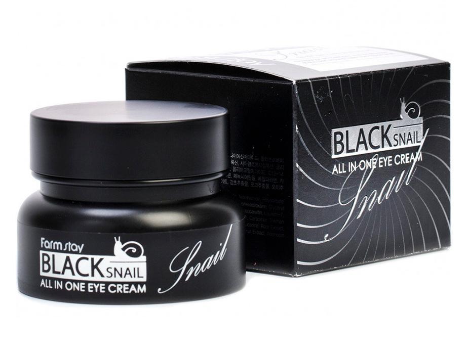 Многофункциональный крем для век с фильтратом улиточной слизи FarmStay Black Snail All In One Eye Cream, 50мл - Фото №3