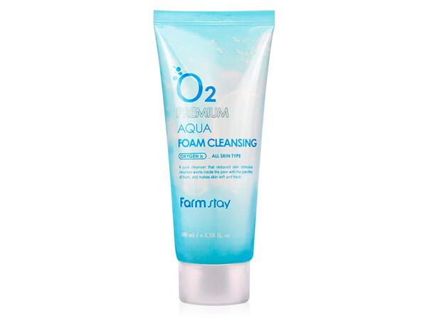 Кислородная пенка для лица FarmStay O2 Premium Aqua Foam Cleansing, 100мл - Фото №1