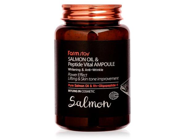 Ампульная сыворотка для лица с пептидами и маслом лосося FarmStay Salmon Oil & Peptide Vital Ampoule, 250мл - Фото №1