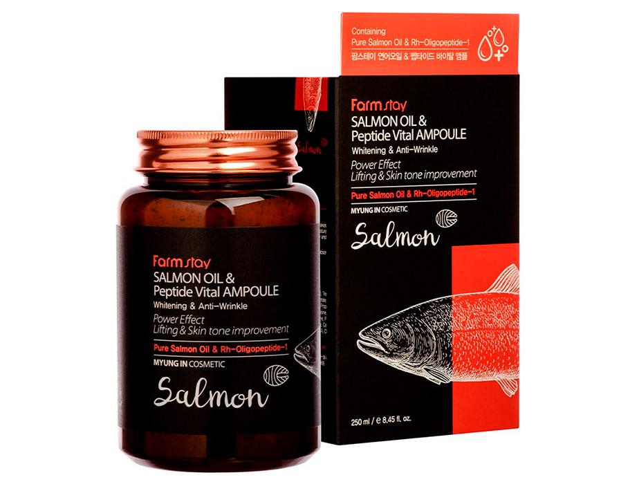 Ампульная сыворотка для лица с пептидами и маслом лосося FarmStay Salmon Oil & Peptide Vital Ampoule, 250мл - Фото №2