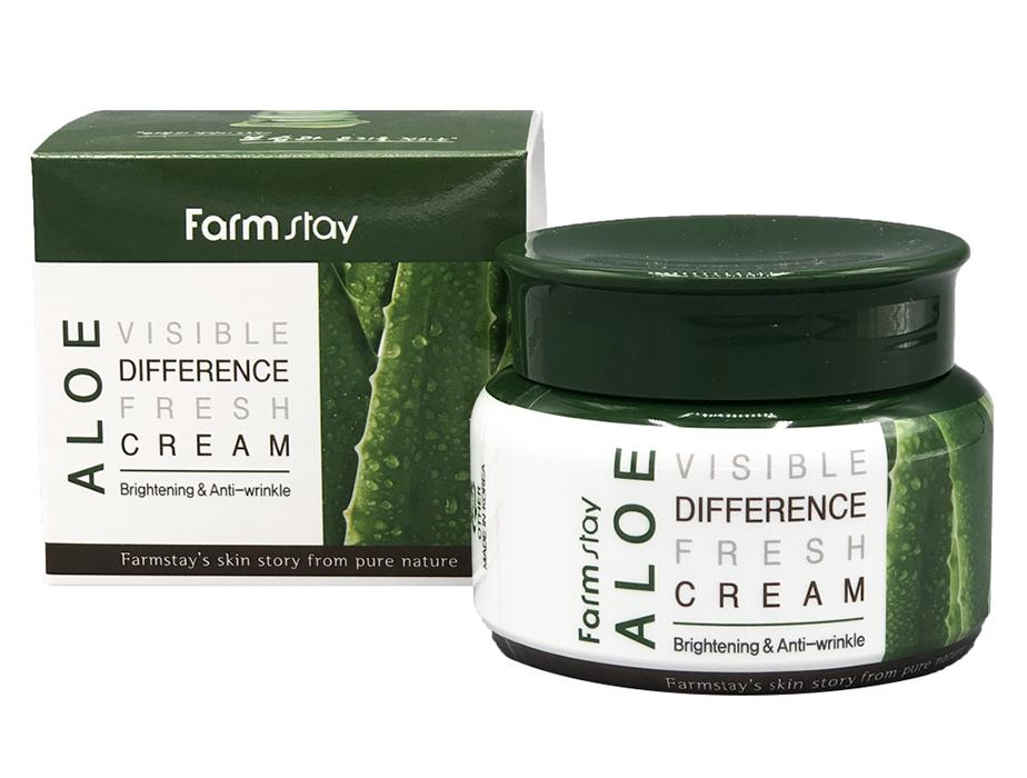 Успокаивающий крем для лица с экстрактом алоэ вера FarmStay Visible Difference Fresh Cream Aloe, 100мл - Фото №3