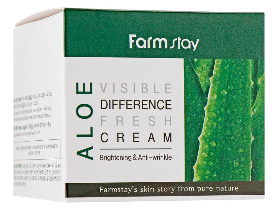 Успокаивающий крем для лица с экстрактом алоэ вера FarmStay Visible Difference Fresh Cream Aloe, 100мл - Фото №4