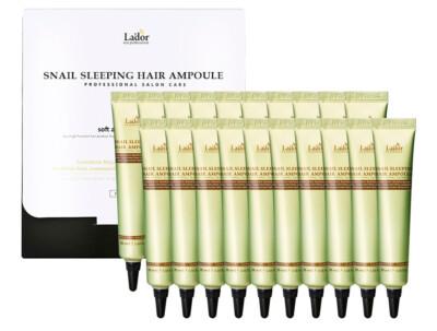 Ночная маска-сыворотка с белком для поврежденных волос Lador Snail Sleeping Hair Ampoule, 20шт по 20мл - Фото №1