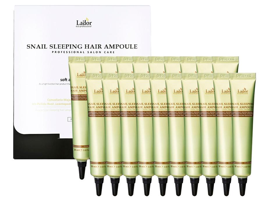 Ночная маска-сыворотка с белком для поврежденных волос Lador Snail Sleeping Hair Ampoule, 20шт по 20мл