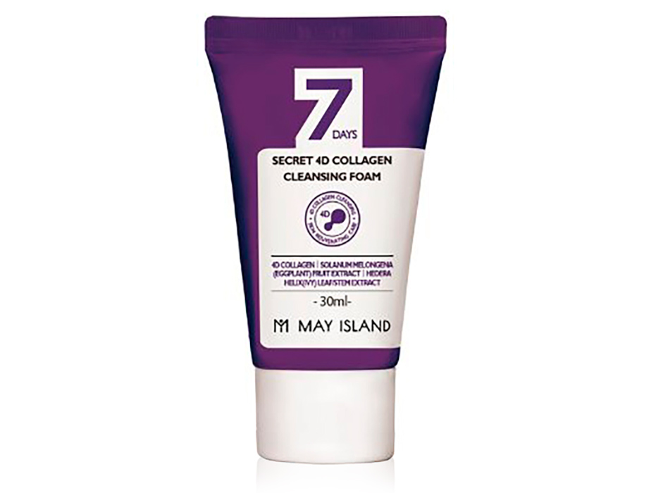 Очищающая пенка для лица с 4 видами коллагена May Island 7 Days Secret 4D Collagen Cleansing Foam, 30мл