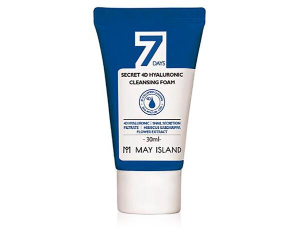 Очищающая пенка для лица с 4 видами гиалуроновой кислоты May Island 7 Days Secret 4D Hyaluronic Cleansing Foam, 30мл - Фото №1