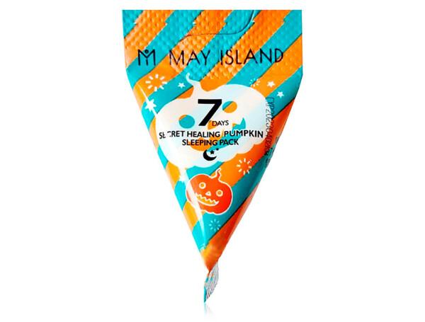 Успокаивающая ночная маска для лица с тыквой May Island 7 Days Secret Healing Pumpkin Sleeping Pack, 5г - Фото №1