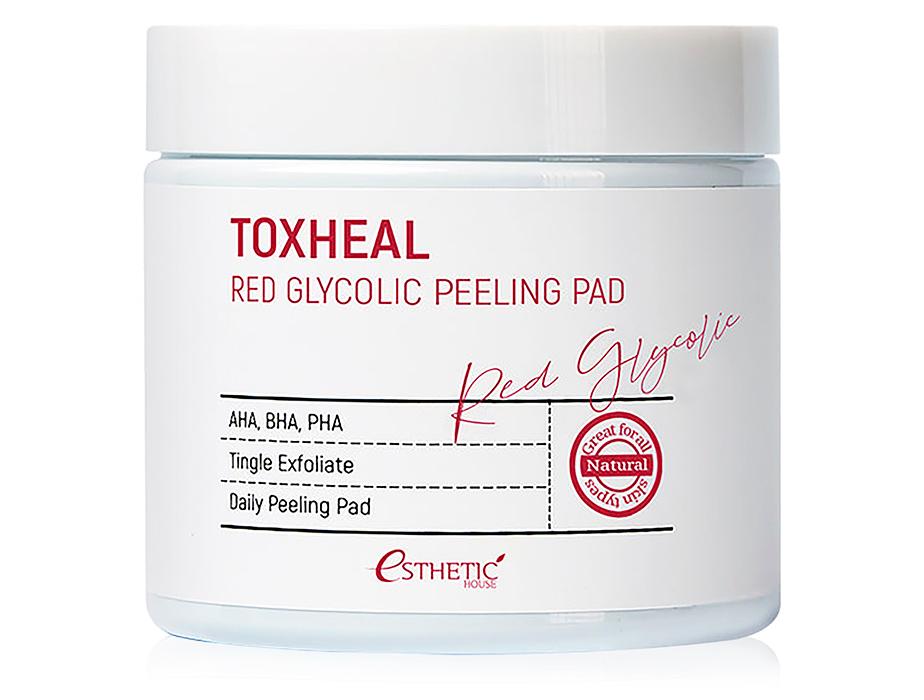 Пилинг-диски для лица с гликолевой кислотой Esthetic House Toxheal Red Glycolic Peeling Pad, 100шт