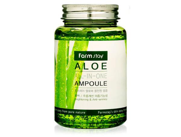 Многофункциональная ампульная сыворотка для лица с экстрактом алоэ FarmStay Aloe All-In One Ampoule, 250мл - Фото №1