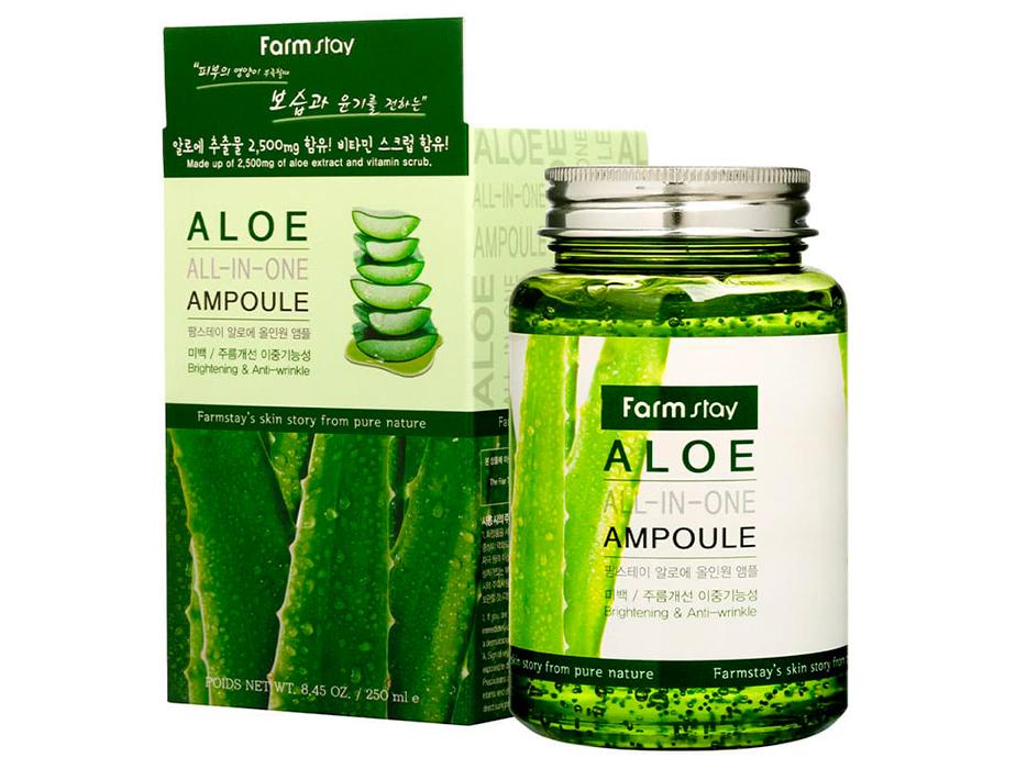 Многофункциональная ампульная сыворотка для лица с экстрактом алоэ FarmStay Aloe All-In One Ampoule, 250мл - Фото №2