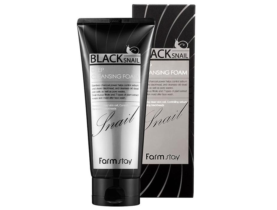 Увлажняющая пенка для лица с муцином черной улитки FarmStay Black Snail Deep Cleansing Foam, 180мл - Фото №2