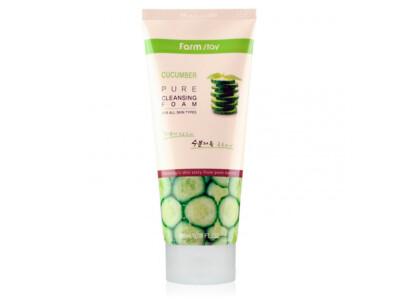 Очищающая пенка для чувствительной кожи лица с экстрактом огурца FarmStay Cucumber Pure Cleansing Foam, 180мл - Фото №1
