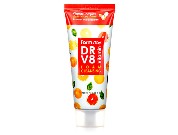 Очищающая пенка для сияния кожи лица с комплексом витаминов FarmStay DR.V8 Vitamin Foam Cleansing, 100мл - Фото №1