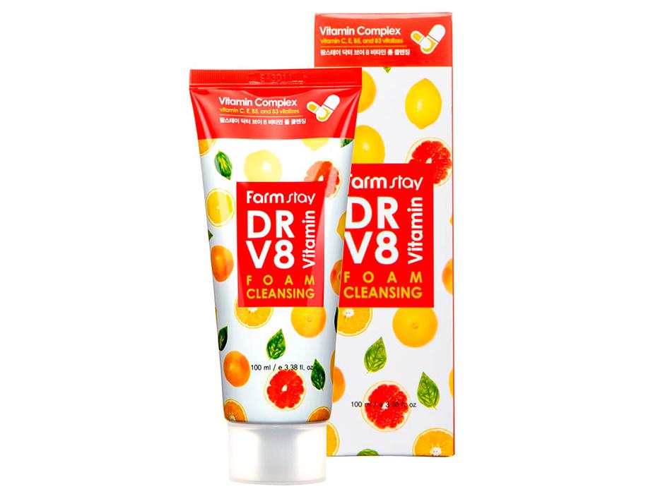 Очищающая пенка для сияния кожи лица с комплексом витаминов FarmStay DR.V8 Vitamin Foam Cleansing, 100мл - Фото №2