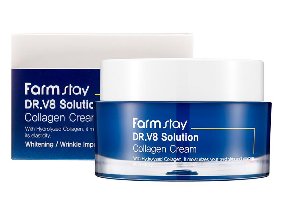 Интенсивно увлажняющий крем для лица с коллагеном FarmStay DR.V8 Solution Collagen Cream, 50мл - Фото №2