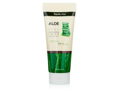 Очищающая пенка для лица с экстрактом алоэ FarmStay Aloe Pure Cleansing Foam, 180мл - Фото №1