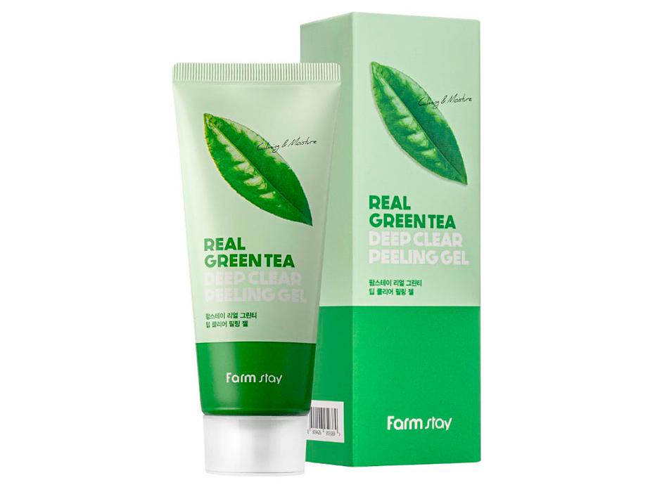 Пилинг-гель для лица с экстрактом зеленого чая FarmStay Real Green Tea Deep Clear Peeling Gel, 100мл - Фото №2