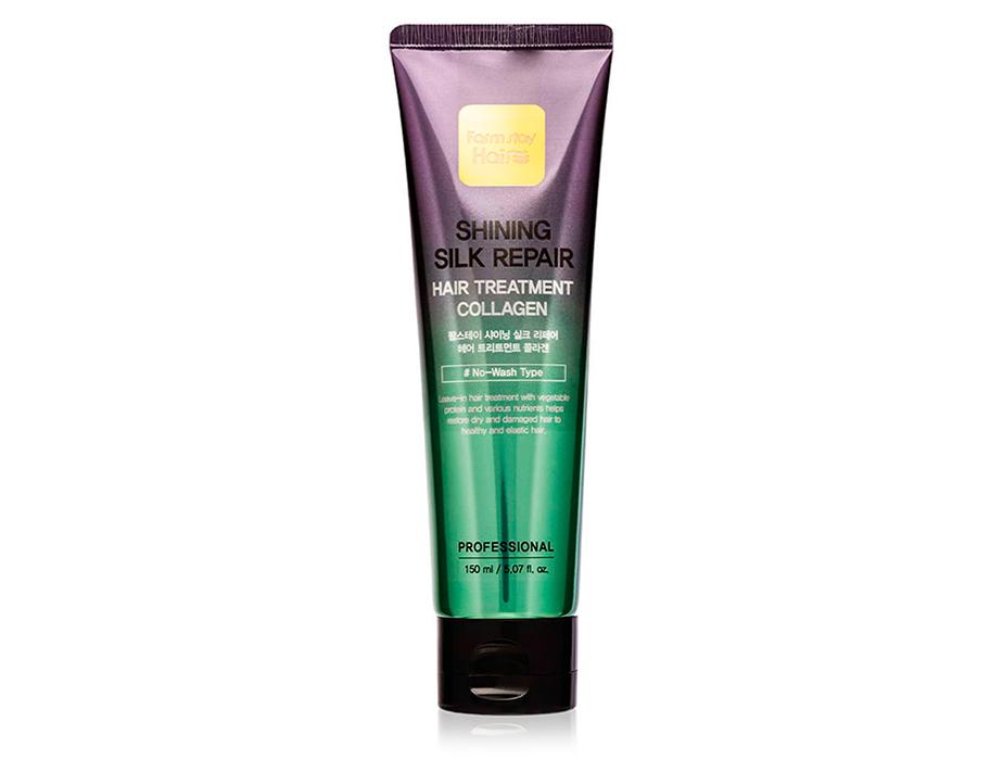Восстанавливающая несмываемая маска для волос с коллагеном FarmStay Shining Silk Repair Hair Treatment Collagen, 150мл - Фото №1