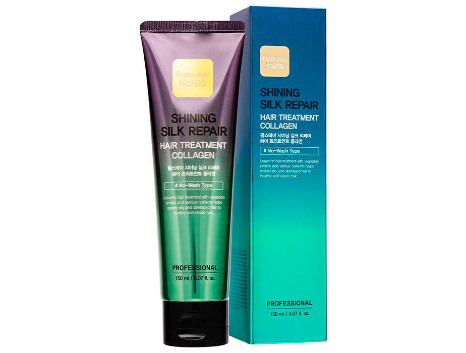Восстанавливающая несмываемая маска для волос с коллагеном FarmStay Shining Silk Repair Hair Treatment Collagen, 150мл - Фото №2