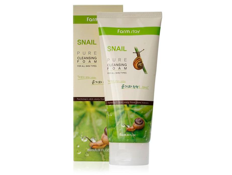 Очищающая пенка для лица с муцином улитки FarmStay Snail Pure Cleansing Foam, 180мл - Фото №2