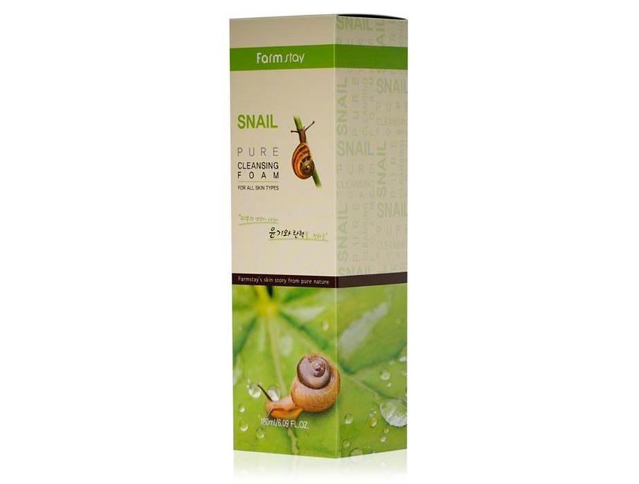 Очищающая пенка для лица с муцином улитки FarmStay Snail Pure Cleansing Foam, 180мл - Фото №3