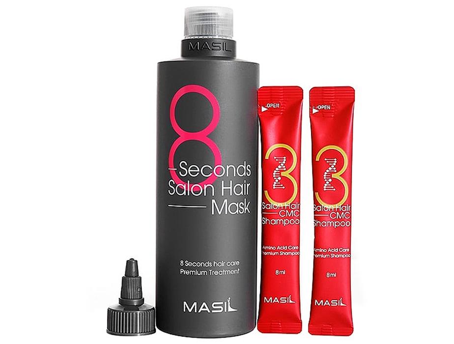 Набор для волос из маски для волос и пробников шампуня Masil 8 Seconds Salon Hair Mask Special Set - Фото №2
