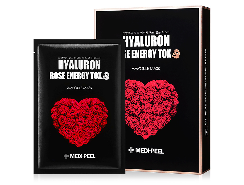 Омолаживающая маска для лица с розой Medi-Peel Hyaluron Rose Energy Tox Ampoule Mask, 10шт - Фото №1