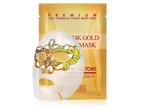 Омолаживающая маска для лица с золотом и пептидами Medi-Peel Luxury 24K Gold Ampoule Mask - Фото №1