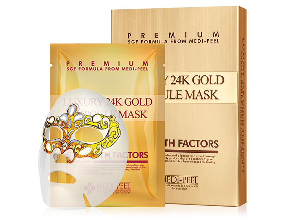 Омолаживающая маска для лица с золотом и пептидами Medi-Peel Luxury 24K Gold Ampoule Mask, 10шт - Фото №1