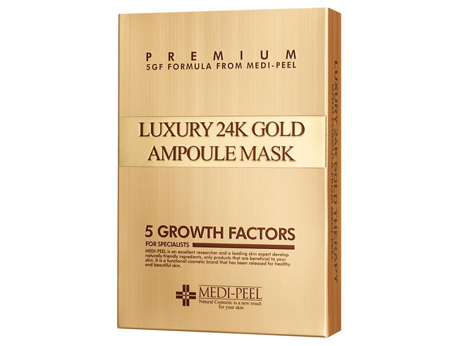 Омолаживающая маска для лица с золотом и пептидами Medi-Peel Luxury 24K Gold Ampoule Mask, 10шт - Фото №2