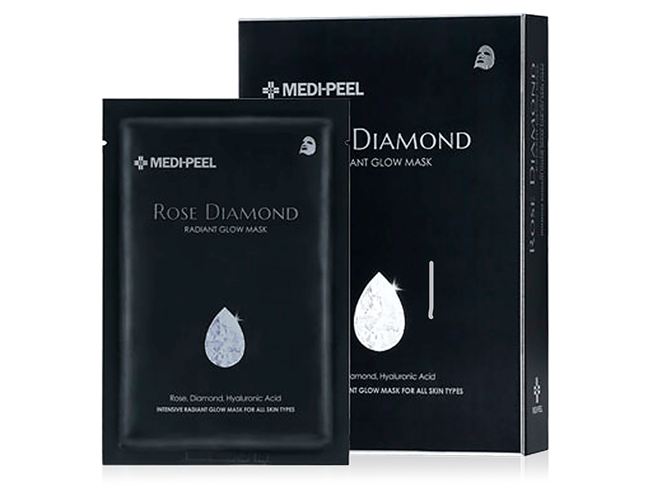 Маска с алмазной пудрой для сияния кожи лица Medi-Peel Rose Diamond Radiant Glow Mask, 10шт