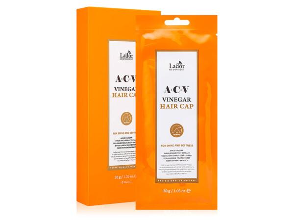 Маска-шапочка для волос с яблочным уксусом Lador ACV Vinegar Hair Cap, 5шт по 30г - Фото №1