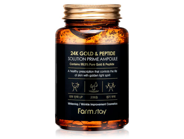 Омолаживающая сыворотка для лица с пептидами и золотом FarmStay 24K Gold & Peptide Solution Prime Ampoule, 250мл - Фото №1