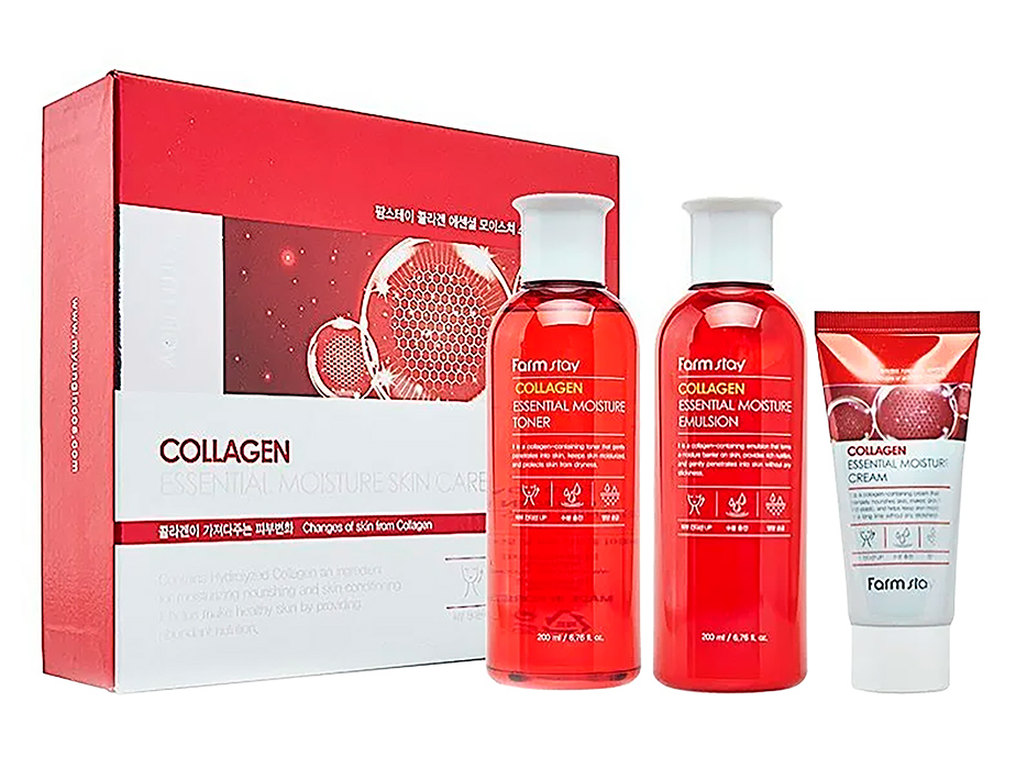 Набор средств по уходу за кожей лица с коллагеном FarmStay Collagen Essential Moisture Skin Care 3 Set