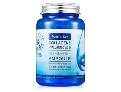 Ампульная сыворотка для лица с коллагеном и гиалуроновой кислотой FarmStay Collagen & Hyaluronic Acid All-In-One Ampoule, 250мл - Фото №1