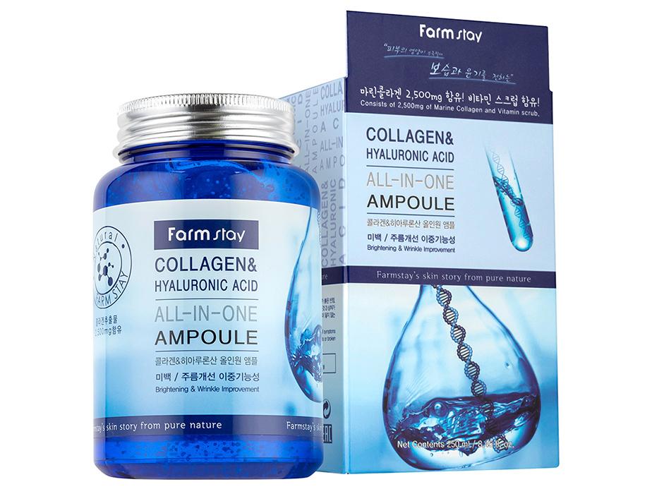 Ампульная сыворотка для лица с коллагеном и гиалуроновой кислотой FarmStay Collagen & Hyaluronic Acid All-In-One Ampoule, 250мл - Фото №2