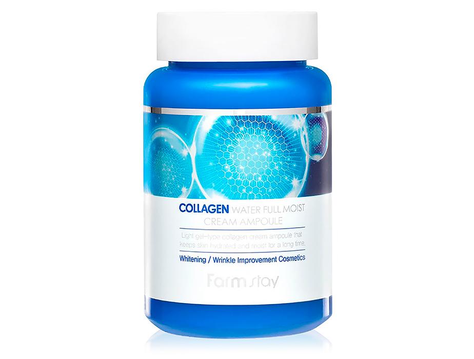 Увлажняющий крем-сыворотка для лица с коллагеном FarmStay Collagen Water Full Moist Cream Ampoule, 250мл - Фото №1