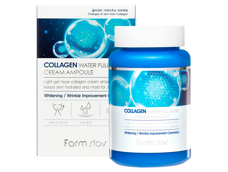 Увлажняющий крем-сыворотка для лица с коллагеном FarmStay Collagen Water Full Moist Cream Ampoule, 250мл - Фото №2