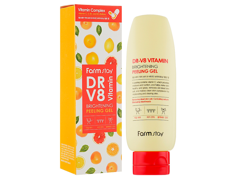 Пилинг-скатка для лица с витаминным комплексом FarmStay DR.V8 Vitamin Brightening Peeling Gel, 150мл - Фото №2