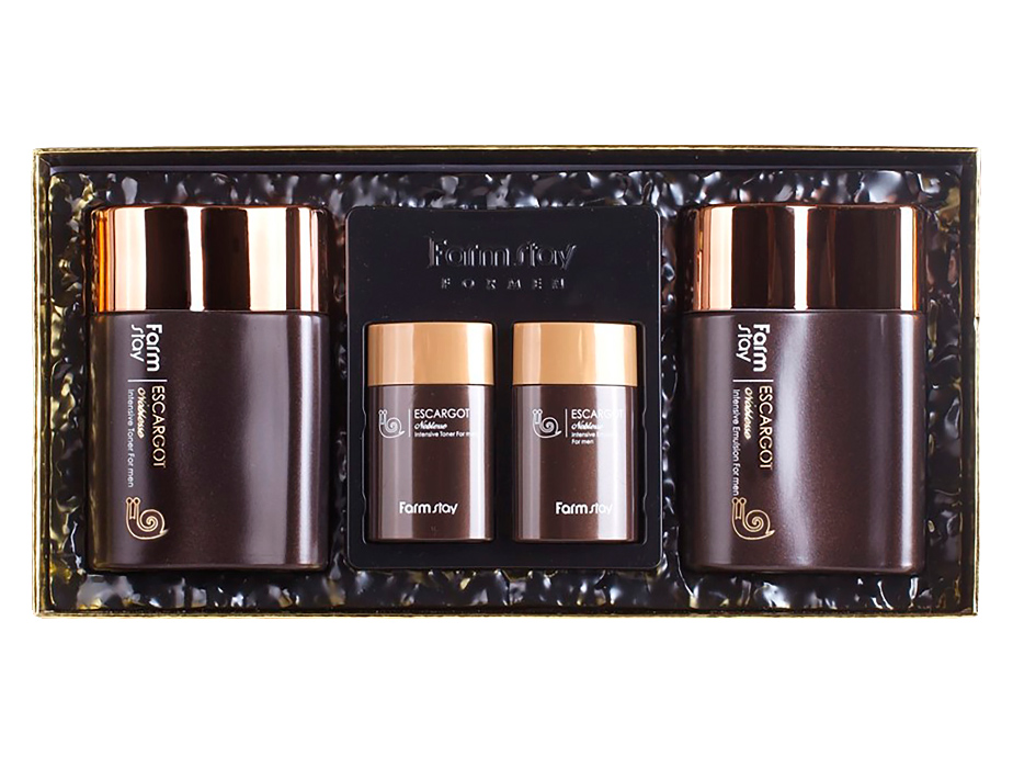 Мужской набор по уходу за кожей лица с экстрактом улитки FarmStay Escargot Noblesse Intensive Skin Care 2 Set For Men - Фото №3