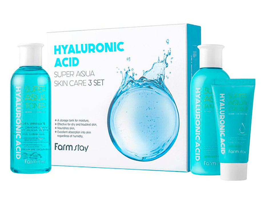 Набор средств для лица с гиалуроновой кислотой FarmStay Hyaluronic Acid Super Aqua Skin Care 3 Set - Фото №1