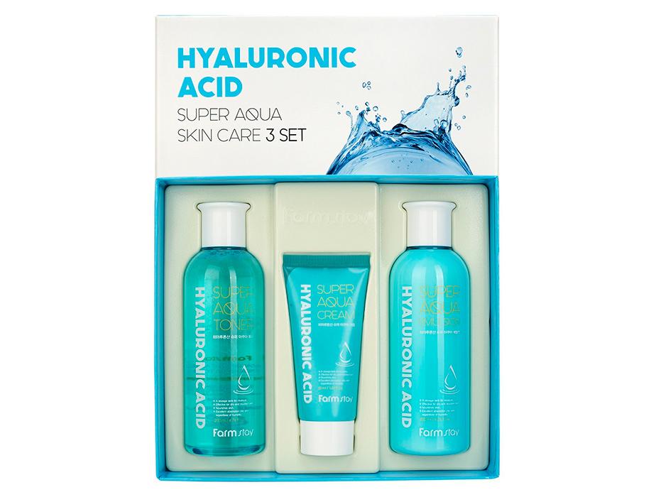 Набор средств для лица с гиалуроновой кислотой FarmStay Hyaluronic Acid Super Aqua Skin Care 3 Set - Фото №3