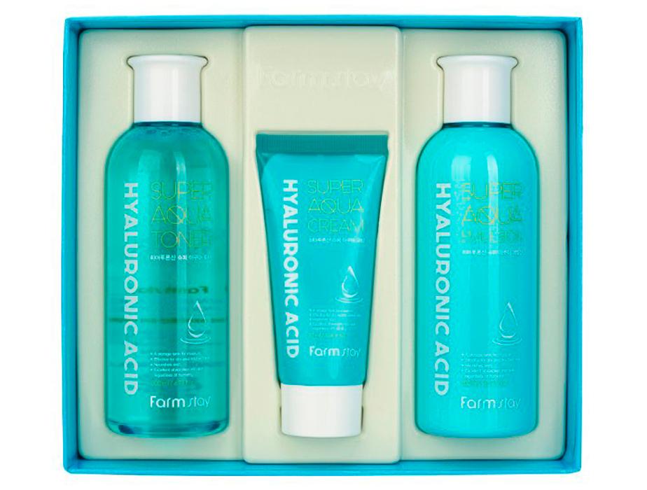 Набор средств для лица с гиалуроновой кислотой FarmStay Hyaluronic Acid Super Aqua Skin Care 3 Set - Фото №4