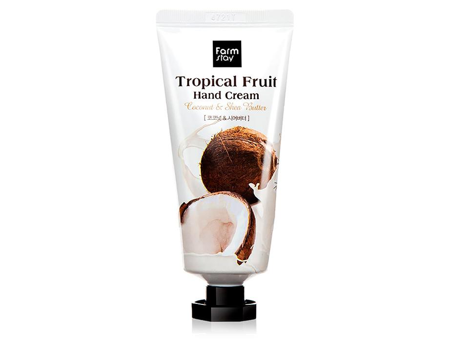 Крем для рук с кокосом и маслом ши FarmStay Tropical Fruit Hand Cream Coconut & Shea Butter, 50мл - Фото №1