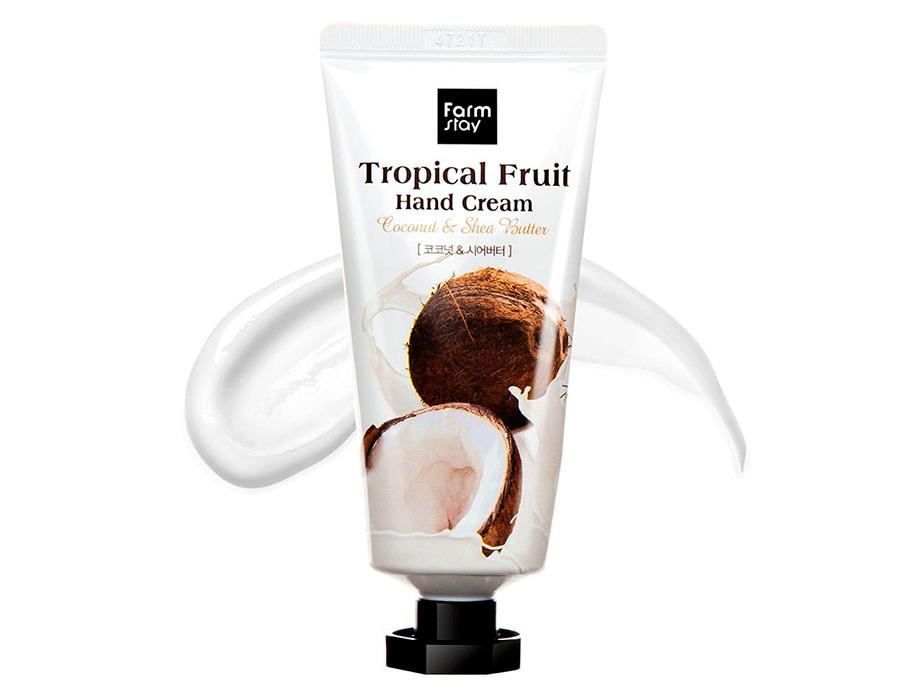 Крем для рук с кокосом и маслом ши FarmStay Tropical Fruit Hand Cream Coconut & Shea Butter, 50мл - Фото №2