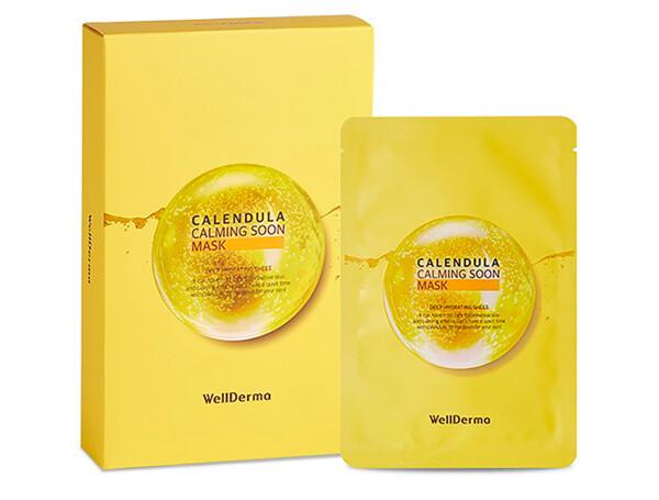 Успокаивающая тканевая маска для лица с экстрактом календулы WellDerma Calendula Calming Soon Mask, 10шт - Фото №1