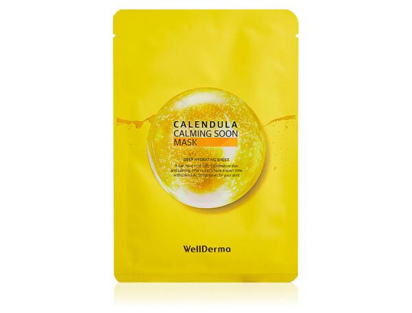 Успокаивающая тканевая маска для лица с экстрактом календулы WellDerma Calendula Calming Soon Mask - Фото №1