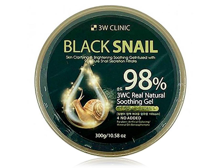 Многофункциональный гель для лица и тела с муцином черной улитки 3W Clinic 98% Black Snail Real Natural Soothing Gel, 300мл - Фото №1