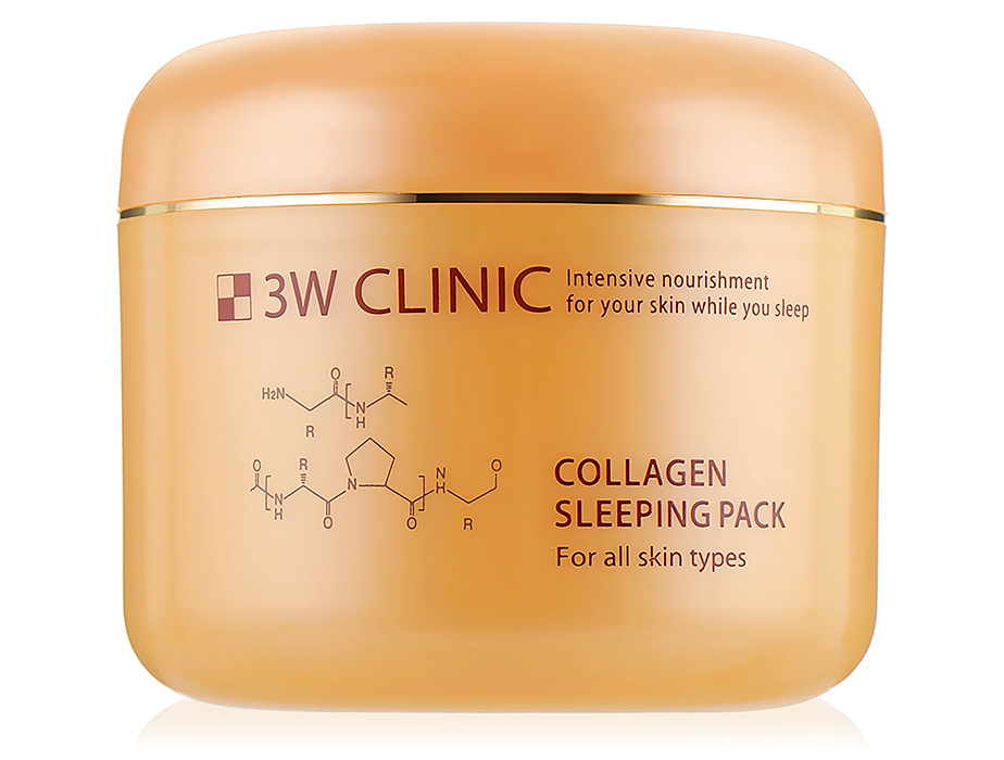 Укрепляющая ночная маска для лица с коллагеном 3W Clinic Collagen Sleeping Pack, 100мл - Фото №1