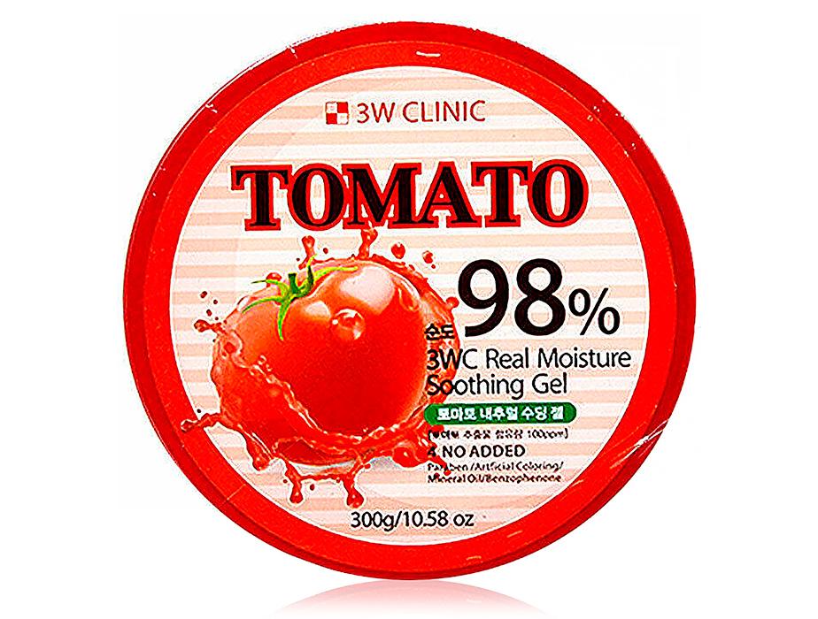 Многофункциональный гель для лица и тела c экстрактом томата 3W Clinic 98% Tomato Real Moisture Soothing Gel, 300мл
